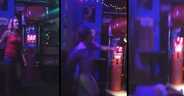 Drunk Guy Tries To Impress Girl By Dropkicking Punching Machine, Its A Knockout dg fb1