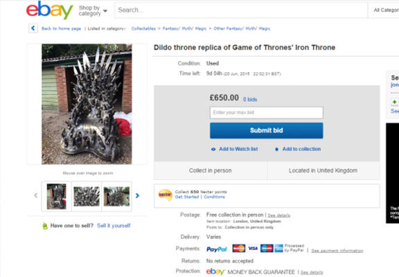 You Can Now Get The Game Of Thrones Dildo Chair On eBay dildo got web