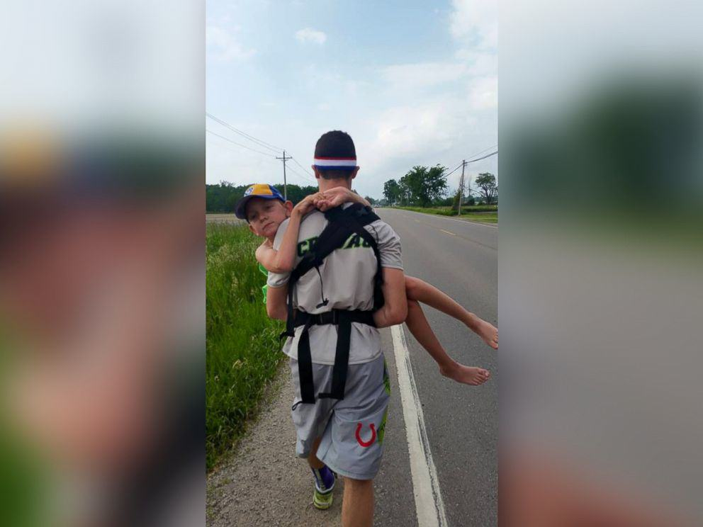 Lad Carries Brother 57 Miles On His Back For Cerebral Palsy Awareness hunter gandee 3