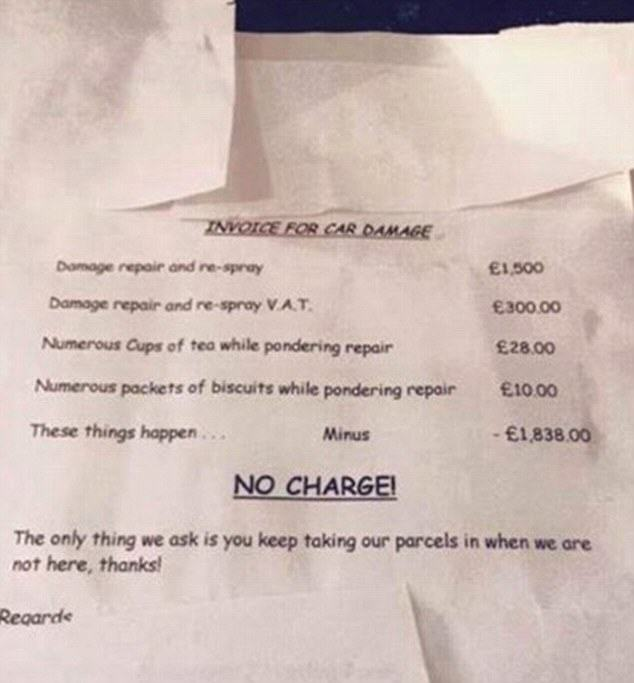 Neighbour Invoicing A Toddler £1,838 For A Damaged Car Door Isnt Quite How It First Seems inv