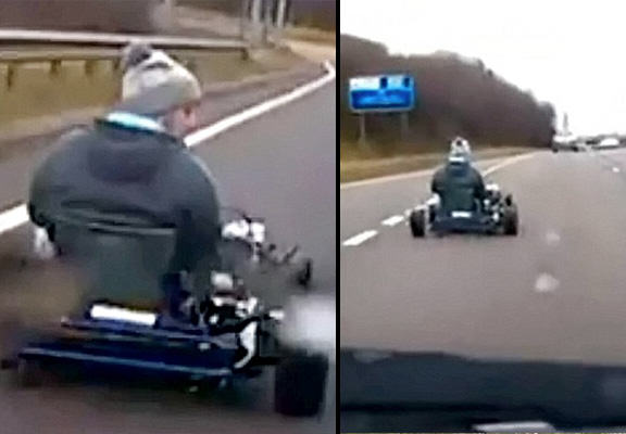 Driver Takes Go Kart Onto Busy Dual Carriageway In Real Life Mario Kart Moment mario kart WEB