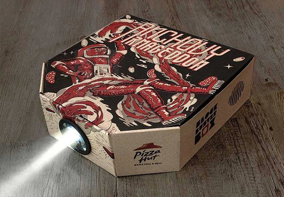 Pizza Hut Now Has A Delivery Box Which Turns Into A Film Projector pizza projector WEB