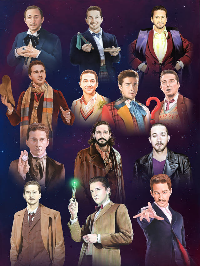 An Artist Has Painted Shia LaBeouf As All 13 Doctors From Doctor Who shia doctor who 1