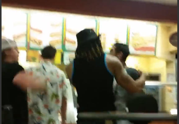 Two Crazy Guys Fight In Subway, One Gets Tossed Through A Window subway window web