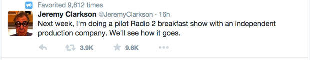 Jeremy Clarkson Takes Shot At Chris Evans On Twitter After He Reveals Filming For New Top Gear top gear tweet 1