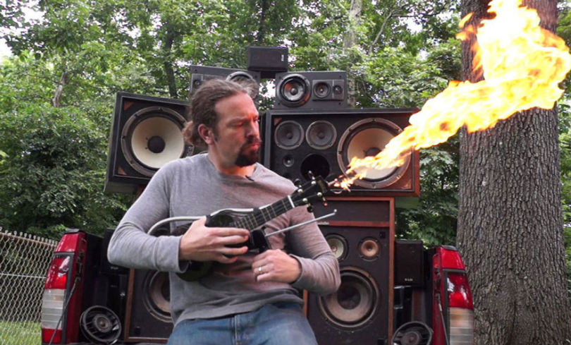 This Guy Has Made His Own Ukulele Flamethrower Inspired By Mad Max ukelele fire 1