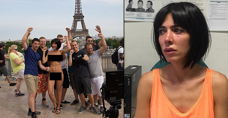 Female Artist Arrested For Posing Naked With Tourists Beside Eiffel Tower 129