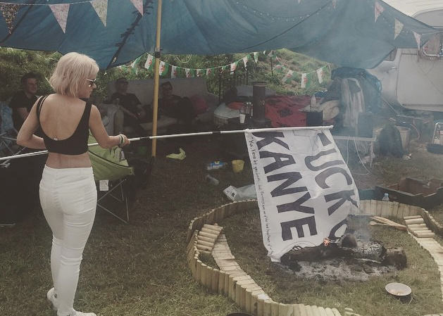 Lily Allen Took A Fuck Kanye Flag From A Reveller Then Burned It 16