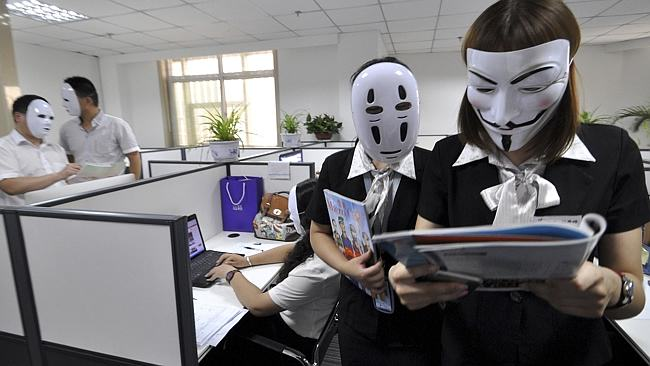 Chinese Workers Go Faceless For A Day To Avoid Faking Expressions 232