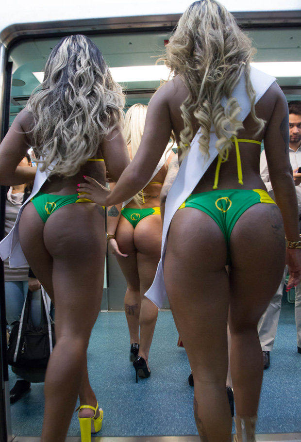 Brazilian Miss Bum Bum Models Strip To Promote Competition On Subway 55b65a2d6ca14