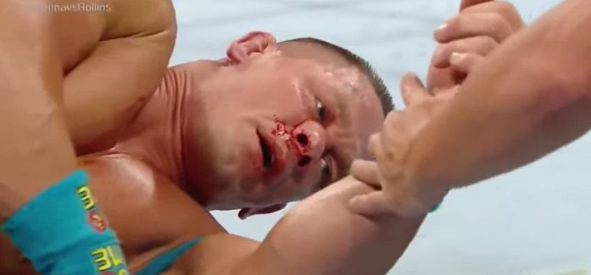 John Cena Gets His Real Nose Broken In A Fake Wrestling Match 55b7fa8f1fed9