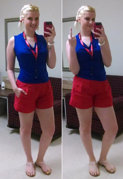 Girl Sent Home From Work For Wearing Revealing Shorts She Bought FROM Work 55ba49a255dcd