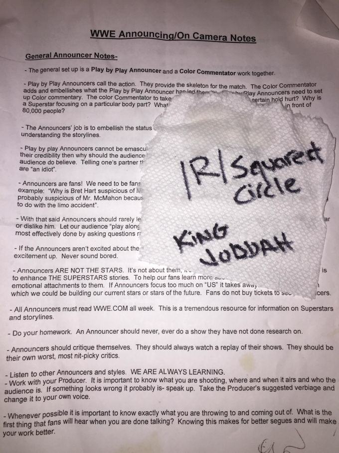 Notes That Vince McMahon Has Given To WWE Announcer Have Been Leaked 91
