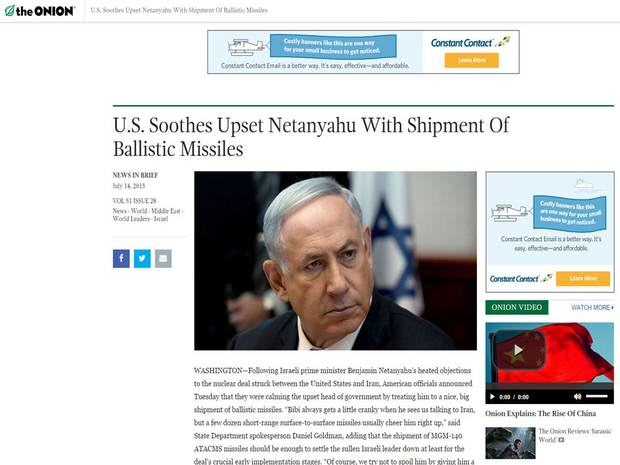 Satirical Website Predicts The News 24 Hours Before It Actually Happens Onion netanyahu