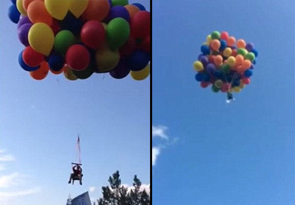 Man Flies Higher Than Plane In Balloon Deck Chair Contraption balloon dude WEB