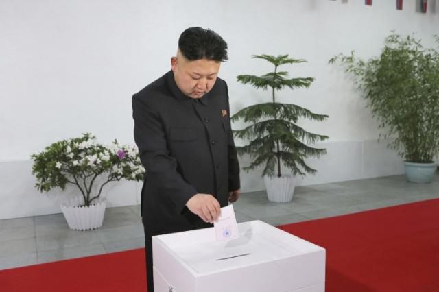 North Korea Sees 99.97% Turnout At Elections kim jong un vote 640x426