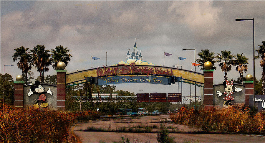These Images Of A Post Apocalyptic Disney World Are Actually Really Disturbing life after disney  main gate by eledoremassis02 d4fiabi