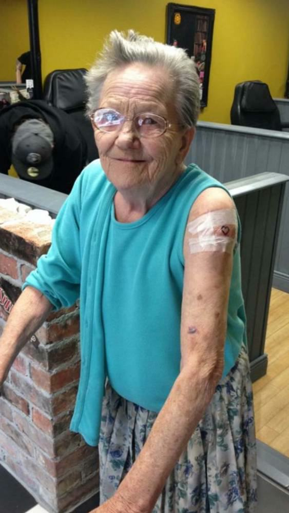 Rock N Roll Gran Breaks Out Of Care Home To Get First Tattoo pic 1
