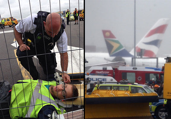 Heathrow Flights Cancelled As Demonstrators Cut Through Fence, Protest On Runway plane stupid WEB