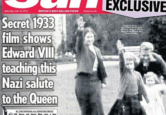 Internet Reacts To The Suns Nazi Salute Queen Front Page sun queen nazi WEB