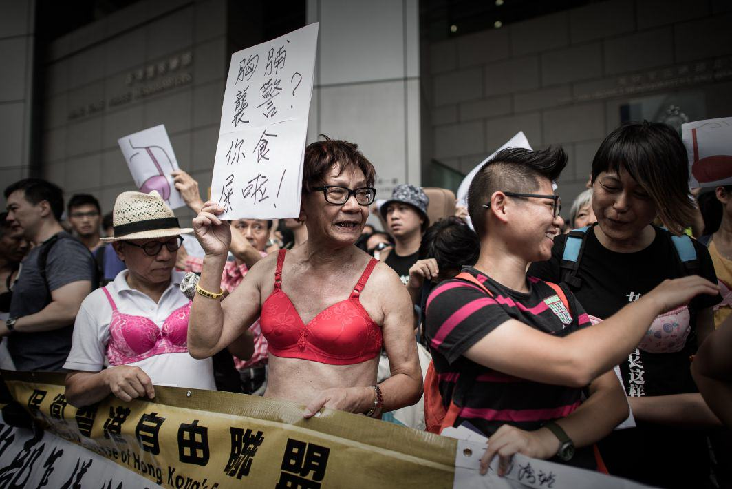 Men In Hong Kong Are Protesting While Dressed In Lingerie KGFB8dpwXbra protest 1.jpg