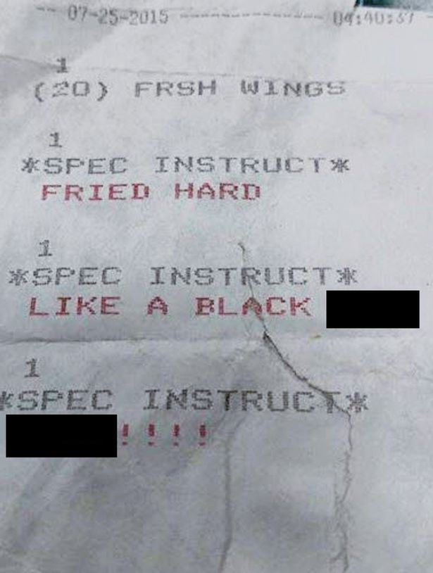 Woman Finds Bizarre Racist Instructions On Her Takeaway Pizza Receipt UNILAD chichen2