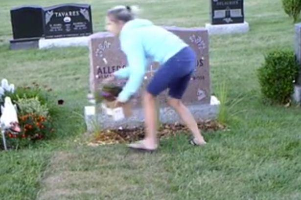 Shocking Footage Shows Woman Stealing Flowers From Grave UNILAD grave steal 26