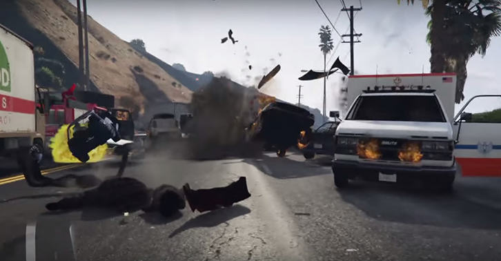 Guy Accidentally Causes One Of The Biggest Crashes Ever In GTA 5 UNILAD gta34