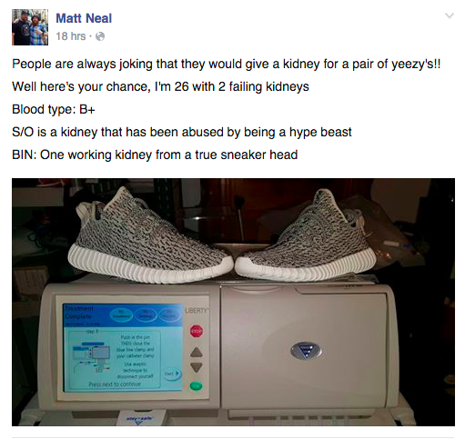 Man Tries To Trade Kanye West Yeezys For A Kidney UNILAD kidney4