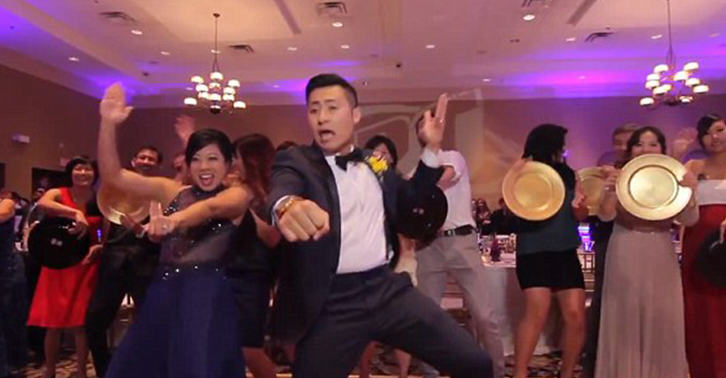Seriously Impressive Couple Manage To Film Wedding Dance Video With 250 Guests In One Take UNILAD weddingorl 33