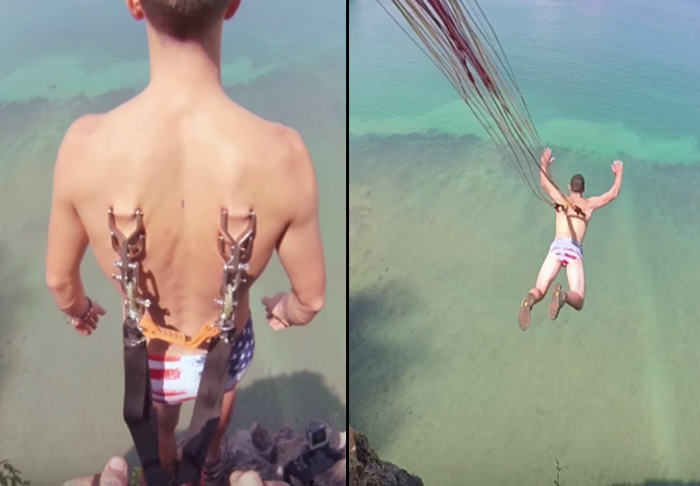 This Nutter Hooks Parachute Through His Skin Then Jumps Off