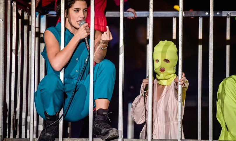 Pussy Riot's Nadezhda Tolokonnikova performed with the group in a metal cage Photo Ben Birchall PA