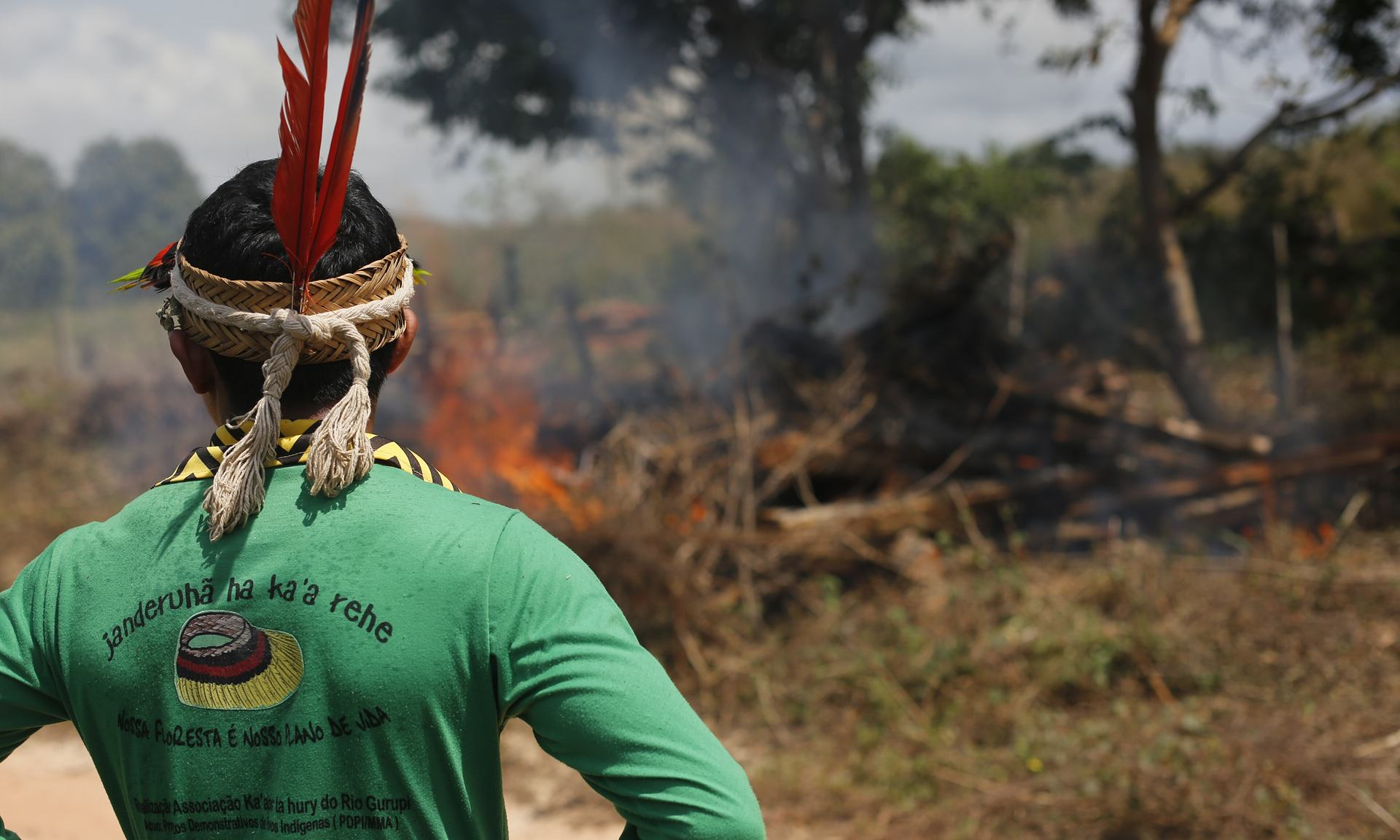 Ka'apor Indians set fire to illegally cut logs found near the indigenous territory. Photograph- Lunae Parracho:Greenpeace