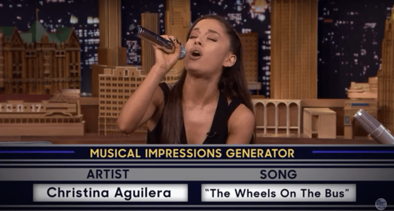 Ariana Grande Nails Britney And Christina Impressions On The Tonight Show UNILAD Screen Shot 2015 09 16 at 19.56.288