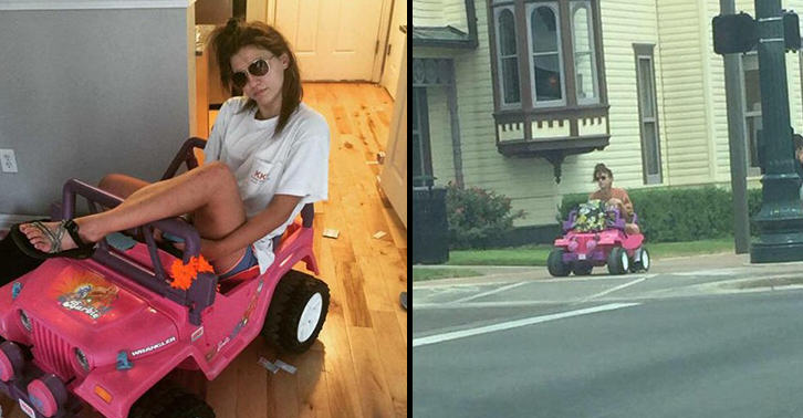 Girl With DUI Now Drives A Barbie Jeep Around Campus UNILAD barbie 27