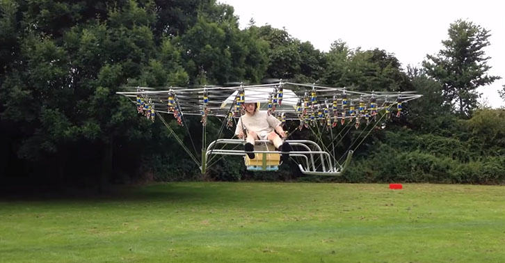 This Guy Strapped 54 Drones Together To Make A Personal Helicopter UNILAD drone45