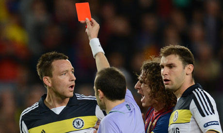 Chelsea's  John Terry receives a red card from the referee