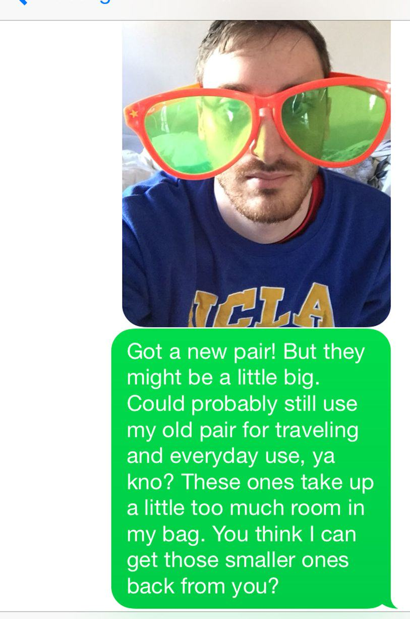 This Guy Bombarded A Girl With Texts For A Year Asking For His Sunglasses Back UNILAD sun202