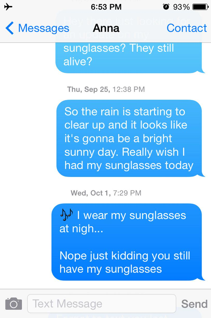 This Guy Bombarded A Girl With Texts For A Year Asking For His Sunglasses Back UNILAD sun24