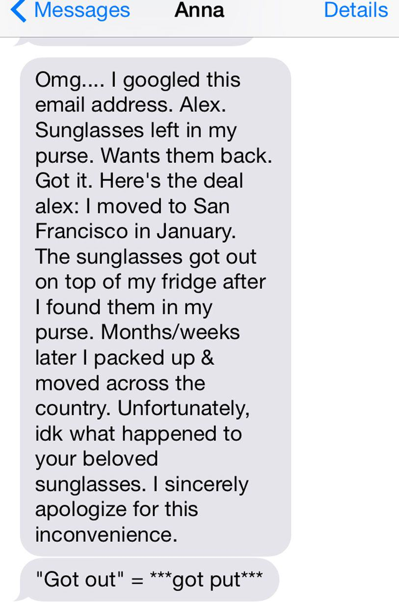 This Guy Bombarded A Girl With Texts For A Year Asking For His Sunglasses Back UNILAD sun404