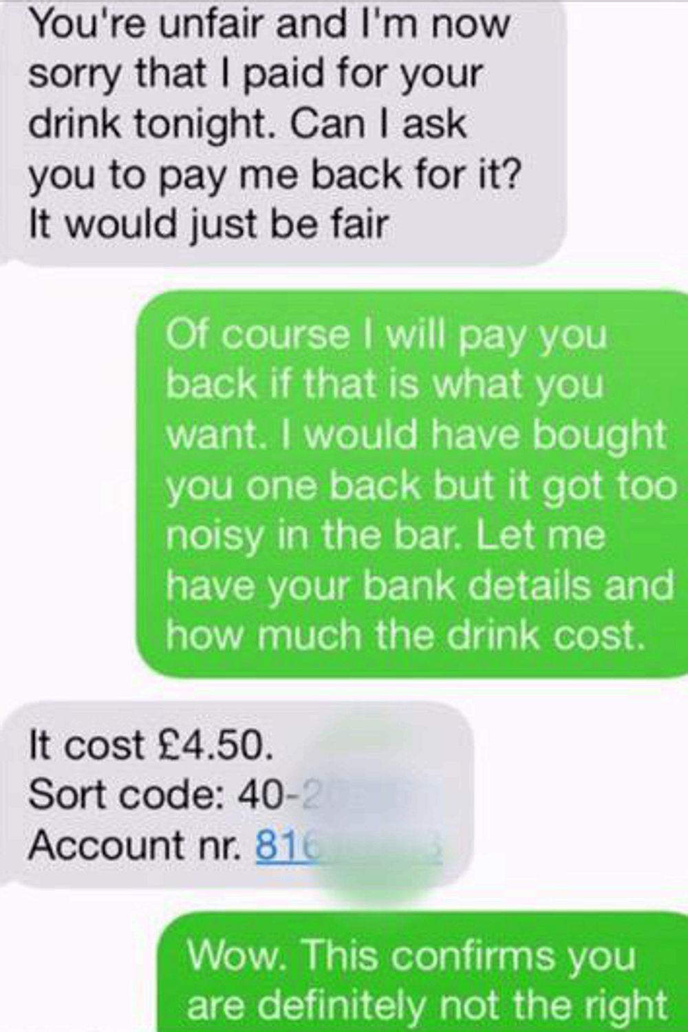 Guy Demands Woman Repays Him For Drink After She Rejects Second Date drink7