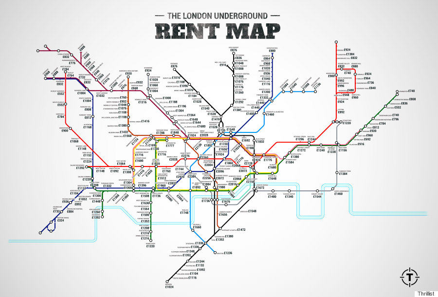 London Underground Rent Map Shows Cheapest And Most Expensive Places To Live In City london prices 8