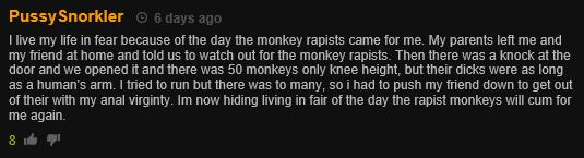 Pornhub Viewers Have Been Posting Really Bizarre Comments monkey rapist