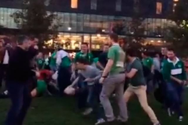 WATCH: Drunk Irish Fans Play A Huge Game Of Rugby Outside Wembley rugby2 640x426