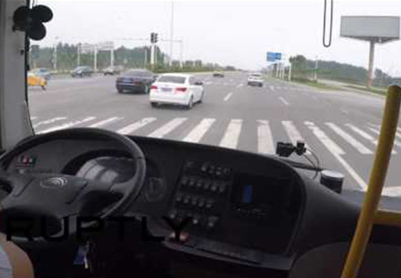 Take A POV Ride On The Worlds First Self Driving Bus self driving bus WEB