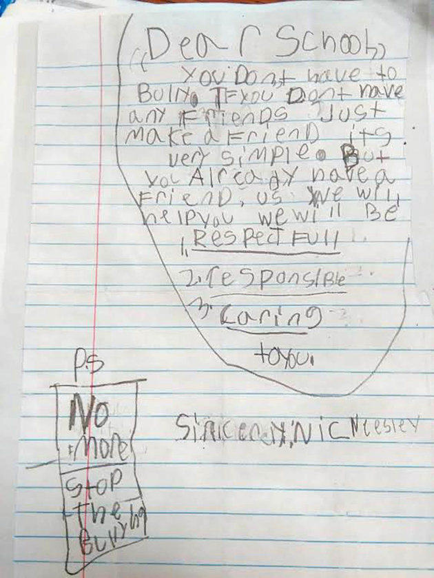 The anit-bullying letter, written by Nicolas Neesley. Courtesy photo