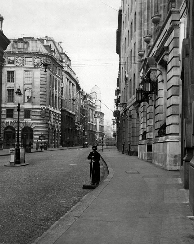 The deserted streets of Cornhill in the City of London on Boxing