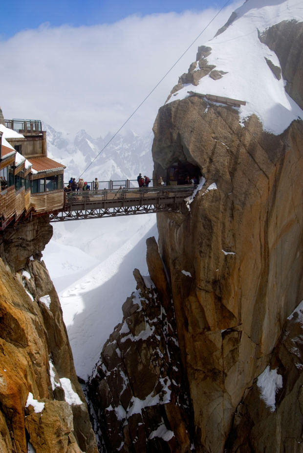Viewing platform and walkway, Aiguille du Midi, Chamonix-Mont-Blanc, French Alps, France, Europe
