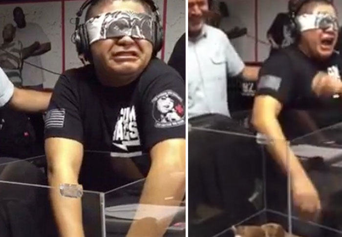 Blindfolded Man Loses His Sh*t When Made To Touch A Teddy Bear UNILAD bear359261