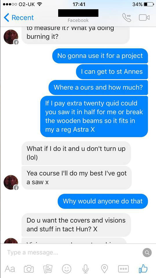 Woman Tries To Sell Broken Sofa, Guy Teaches Her Epic Lesson UNILAD couch troll new 379655